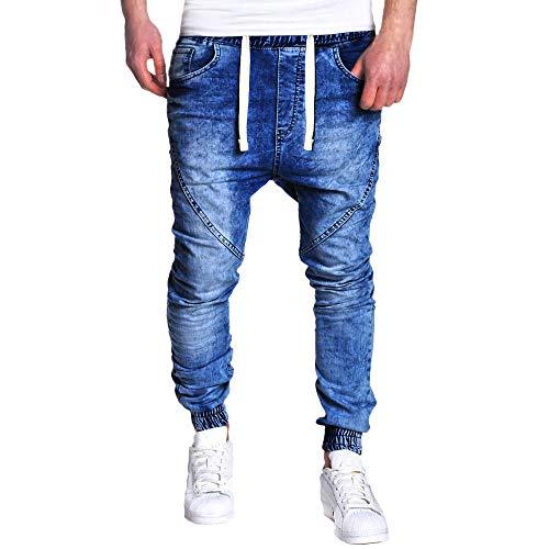 TEBAISE Herren Jeanshosen Jeans Denim Hose Bund und Saum mit Gummizug Lang Bermudas Hosen FüR MäNner Cargo Hose Stretch (Blau,3XL)