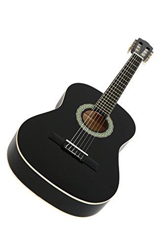 NAVARRA NV12 guitarra clásica 4/4 negro, bolsa/Gig Bag, 2 púas