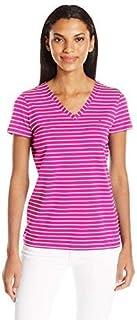NAUTICA Womens 71VZ01 Short Sleeve Stretch V Neck Stripe Tshirt Short_Sleeve T-Shirt