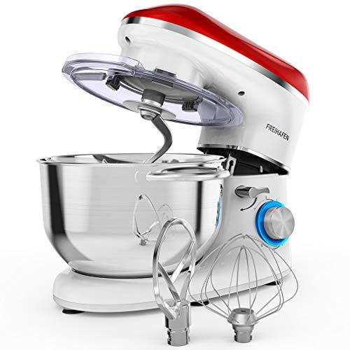 Freihafen Küchenmaschine Knetmaschine, 5.5L 1400 W Leistungsstarke Rührmaschine Teigmaschine mit Rührbesen, Knethaken, Schlagbesen, Spritzschutz, 6 Geschwindigkeit mit Edelstahlschüssel, Rot weiß