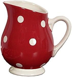 Déjeuner sur l'Herbe Colazione sull' erba dh016001grandi pois Vaso a acqua ceramica rosso 18x 13x 18,5cm