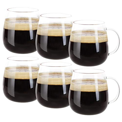 Farielyn-X Glass Coffee Mugs Set of 6, Microwave Safe Borosilicate Glass Cups, 15 Ounce Large Mugs Gifts for Family, latte, Chocolate & Beverage, Mocha, Cappuccino, Tea and Water, Clear Drinking Cups