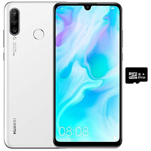 "Huawei P30 Lite (128GB, 4GB RAM) 6.15"" Display, AI Triple Camera, 32MP Selfie, Dual SIM GSM Factory Unlocked MAR-LX3A - US & Global 4G LTE International Version (Pearl White, 128GB + 64GB SD Bundle)"