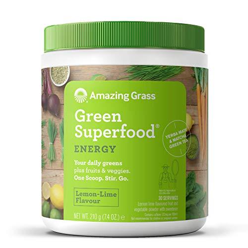 Amazing Grass Green Superfood: natürliche Mix aus Kräutern, Gemüse und Früchten mit Kulteren, Reich an Ballaststoffen, Vitaminen und Mineralstoffen, Vegan, ohne Zuckerzusatz - Energie Zitronen-Limette