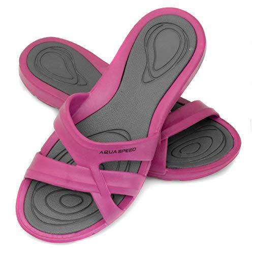 Aqua Speed Set Duschlatschen für Damen + Mikrofaserhandtuch | Duschsandalen | Bade Sandalen | Saunaschuhe | Pool Slide | F:03, Gr. 41 | Panama