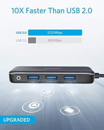 Anker Premium 4-in-1 USB-C Hub, mit 60W Power Delivery, mit 3 USB 3.0 Ports, für MacBook Pro 13 Zoll 2016 / 2017 / 2018, Chromebook, XPS und viele mehr (Aktualisierte Version)