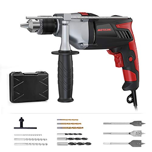 Hammer Drill, Meterk 950W 2800RPM Hammer&Impact Drill 2 Mode in 1 with 12 Drill Bits, 360°Rotating Handle, Variable-Speed Trigger &Aluminum Machine Shell, for Brick, Wood, Steel, Concrete