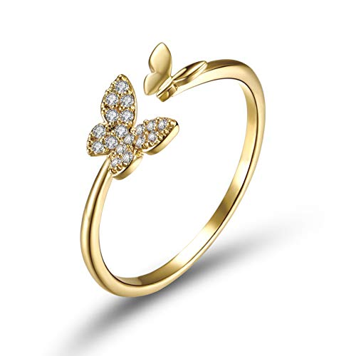 18K Gold Plated Butterfly Adjustable Open Rings Statement Ring Cubic Zirconia for Women Girls Animal Promise Band Gift