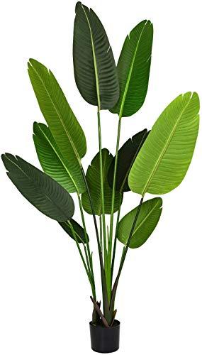 YQing Palmera Tropical Falsa, Planta en Maceta Artificial de la Palmera de la Ave del paraíso de Seda Artificial para Interior al Aire Libre, decoración de la Oficina del jardín casero