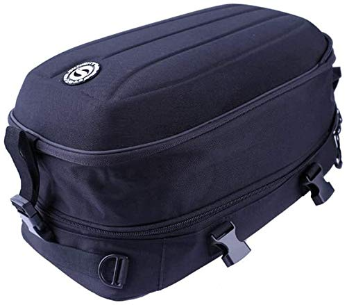 Motorcycle Tail Bag Waterproof Motorbike Saddle Bags Multifunctional Luggage Helmet Storage Riding Backpack,Oxford cloth material/22L-30L Expandable Capacity Luggage Storage Trunk Carrier Mount Rack