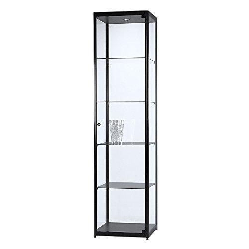 DELIGHT DISPLAYS Vitrine Glasvitrine Standvitrine Sammlervitrine Basic 500 Alu Schwarz Glas beleuchtet abschließbar