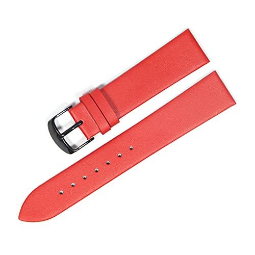 Mira la Correa de Cuero de Vaca Genuino 18mm Banda de Reloj del Cuero 20mm 22mm Suave y Delgada Correa de Reloj de la Correa, Negro Rojo, 12mm