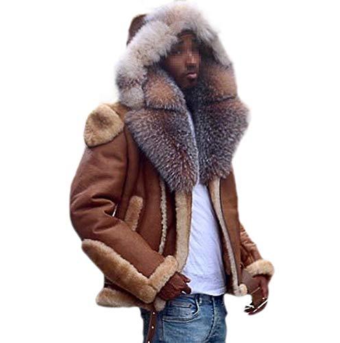 ZSYDS Herren-Faux-Scher-Moto-Jacke, großer Pelzkragen PU-Faux-Pelzmantel mit Kapuze Jacke, Parka Winter-Shearling-Mantel (Color : Brown, Size : M)