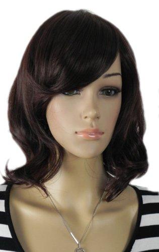 Qiyun Moyen Longueur d'epaule Ondule Waves Raide Ramp Frange Noir Synthetique Cheveux Complete Perruque
