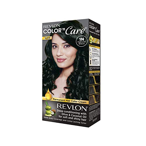 Revlon Color N Care Permanent Hair Color Cream, Natural Black 1N|With Olive and coconut Oil