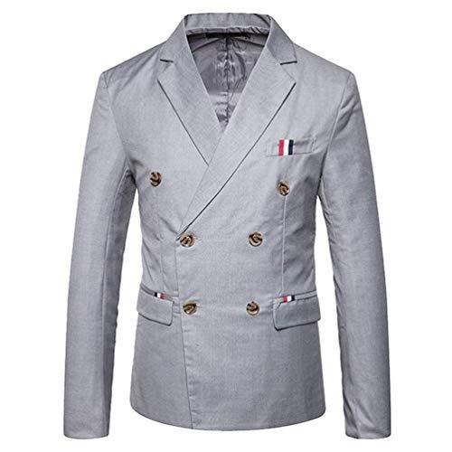 Herren Doppelreiher Sakko Blazer Anzug Jacke Smart Smoking Modernas Lässig Slim Fit Mantel Hochzeit Elegant Outerwear Anzugjacken Herbst (Color : Hellgrau, Size : 2XL)