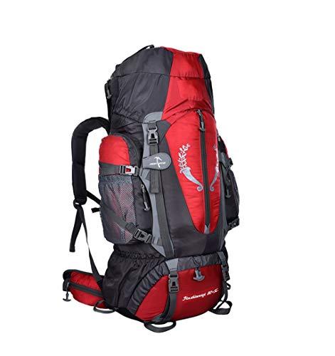 Grand 80 + 5L Sac à Dos de Voyage Sports de Plein air Imperméable Léger Sac à Dos Respirant Alpinisme Camping Sac à Dos Pêche Voyage Vélo Sac à Dos pour Hommes et Femmes Rouge