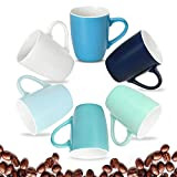 Coffee Mugs Set of 6, 16 Ounce Ceramic Coffee Mugs Set of 6, Restaurant Coffee Mugs, Cool Assorted Colors Coffee Mugs, Colorful Coffee Mugs for Coffee or Tea