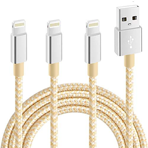 RCTech iPhone Charger [3pack 10FT] MFi Certified Nylon Braided Lightning Cable High Speed Charging USB Cords Compatible with iPhone 12/11/XS/XR/X/8/7/6/6S/5S/5/iPad,Silvergray