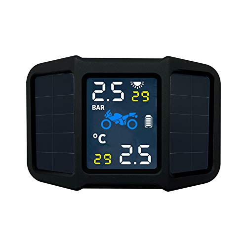 KKmoon TPMS Reifendruckkontrollsystem Solar Reifendruckmesser mit 2 externen Sensoren LCD Display Alarmfunktion Temperatur Anzeige für Motorrad