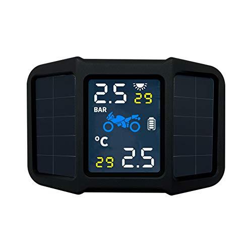KKmoon Monitor Presión Neumáticos Moto, TPMS Moto Energía Solar con 2 Sensores Externos Pantalla de Temperatura de Presión en Tiempo Real