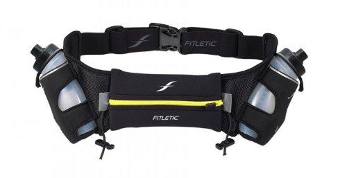 Fitletic 12 Oz Hydration Belt, Black/Yellow, Large/X-Large