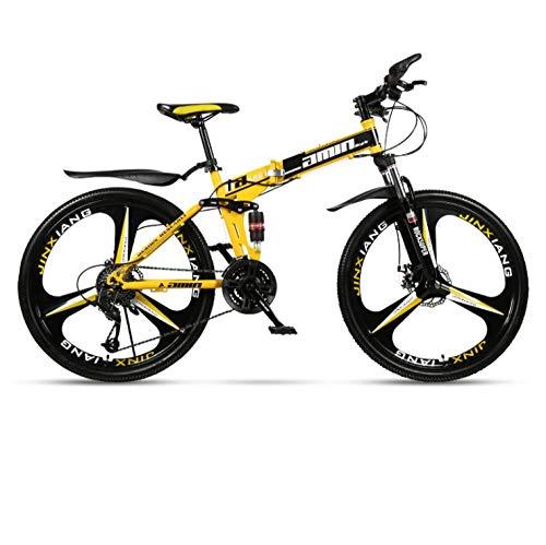 Bicicleta de montaña plegable de 26 pulgadas para adultos, una rueda, doble amortiguador, todo terreno, bicicleta de velocidad variable, rueda de tres cuchillas-Negro y amarillo B_27 velocidades