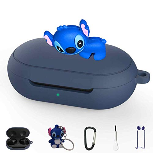 Stitch Silicone Case for Galaxy Buds/Galaxy Buds+ Plus, 5 in 1 Silicone Accessories Set Protective Cover, Silicone Case/Keychain/Carabiner/Anti-Lost Rope/Cleaning Brush (Dark Blue & Stitch)