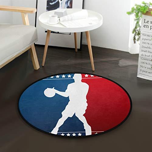 Mnsruu Tapis rond en forme de silhouette de basket-ball pour salon, chambre à coucher, 92 cm de diamètre