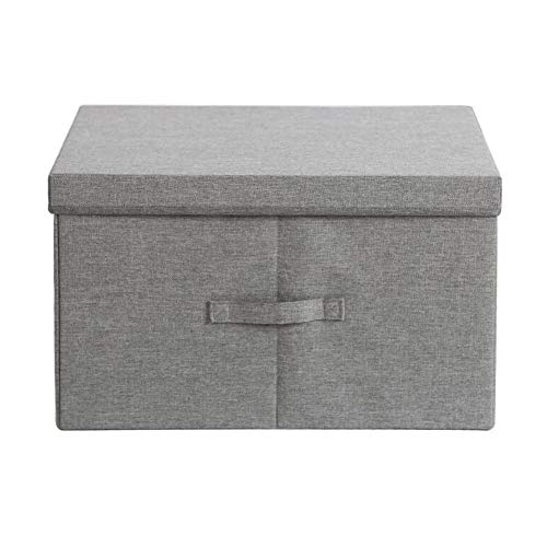Heding Storage Basket Environmental Protection Oxford Cloth PP Board Foldable With Lid With Handle Rectangle Wardrobe, 4 Colors (Color : GRAY, Size : 40X30X25CM)