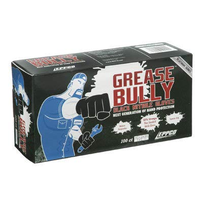 Grease Bully Nitrile Gloves - 6MIL - Black - Powder & Latex Free - 1000 Count - 10 Boxes (Medium)