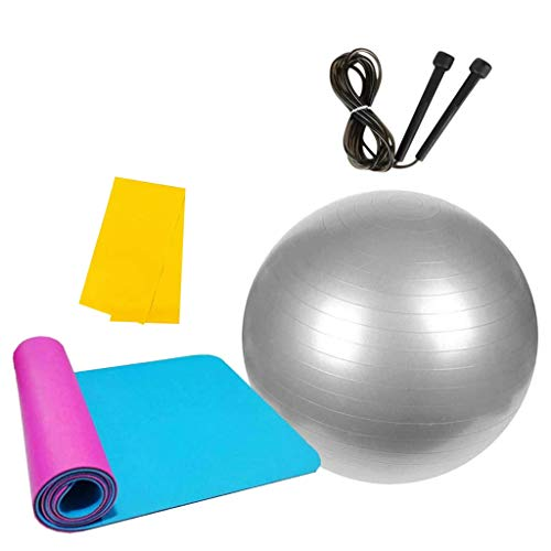 Andouy Pilates Gymnastikmatte, Yoga Ausrüstung Beinhaltet 1 Balance Ball + 1 Yogamatten + 1 Springseile + 1 Widerstandsband – für Gym Yoga Sport Bodenübung(180X60X1CM.Silber)