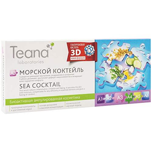 Teana Laboratories A3 Serum Acido Hialuronico 3D con Algas Marinas Hidratacion Profunda Elimina Inflamacion Anti Envejecimiento Tonifica Tratamiento Facial Coctel de Mar 10x2ml