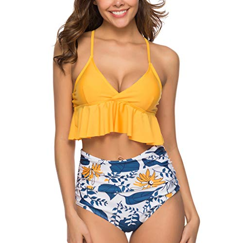 IHEHUA Bikini Set Damen Geteilter Tankini Rüschen Bikini Oberteil Mit Hoher Taille Geblümt Bikinihose Sexy Rückenfrei Schultergurt Swimsuit Mit Gepolsterter(A-Blau,M)