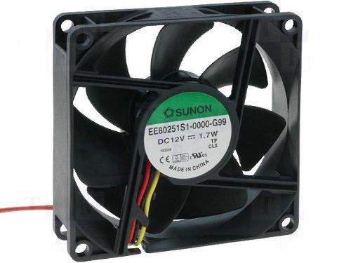 Sunon Ventilador 80x 80x 25mm ee80251s1de G99DC 12V, 3200U/min 33dba Rodamiento de deslizamiento 3litzen