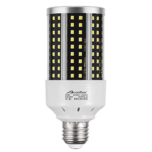 30W LED Corn Light Bulb for Indoor Large Area, E26 3000Lm 6500K Cool White,Super Bright Daylight LED Corn Bulb for Garage Barn Workshop Warehouse Factory Porch Backyard High Bay, 85V-265V