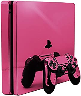 Pink Chrome Mirror Vinyl Decal Faceplate Mod Skin Kit for Sony PlayStation 4 Slim (PS4S) Console by System Skins