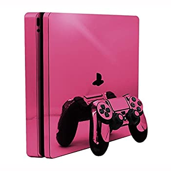 Pink Chrome Mirror Vinyl Decal Faceplate Mod Skin Kit for Sony PlayStation 4 Slim  PS4S  Console by System Skins