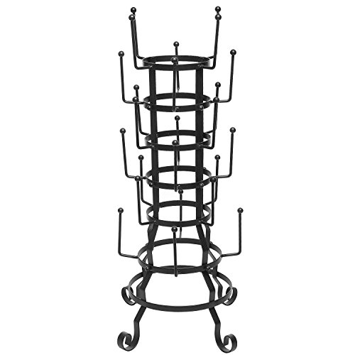 MyGift 24-Hook Vintage Rustic Black Iron Coffee Mug / Glass / Cup / Bottle Hanger Hooks Drying Display Rack Organizer Stand