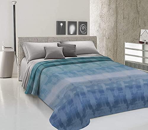 Store Couvre-lit d'été en piqué de coton, fabriqué en Italie, motif arc-en-ciel, motif arc-en-ciel, léger, estival, bleu et bleu