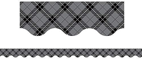 Teacher Created Resources Gray Plaid Scalloped Very popular! Border 5660 Spring new work Trim