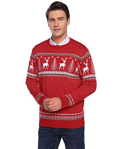 Abollria Herren Weihnachtspullover mit Rentier Schneeflocken Muster Rundhals Langarm Winterpulli Norweger Strickpullover für Winter,Rot,M