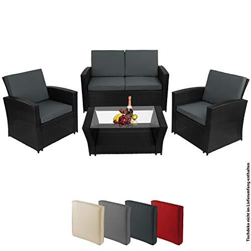 Montafox 12-teilige Polyrattan Sitzgruppe 4 Personen 5 cm Sitzpolster Tisch Balkonmöbel Set Sitzgarnitur Schwarz, Farbe:Titan-Schwarz/Nachtschwärmergrau - 5