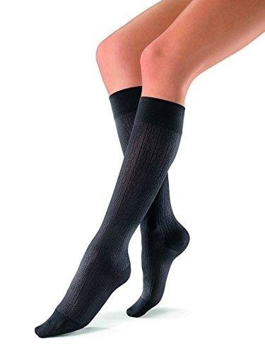 JOBST soSoft 15-20 mmHg Knee High Compression Socks, Brocade Pattern, Black, Medium