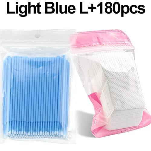 VIE Micro-Brosse Outils de Suppression des Cils individuels Écouvillons Micro-brosses Outils d'extension de Cils 100 pièces/Paquet, Bleu et 180 pièces