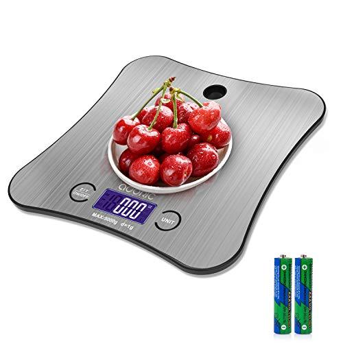 Adoric Küchenwaage, digital, Küchenwaage, Wiegen von Lebensmitteln, Edelstahl, große Plattform, kann an der Wand gehängt werden, 5 kg