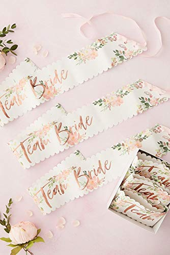 David's Bridal Team Bride Floral Sash Set Style FH-208, Rose Gold Metallic