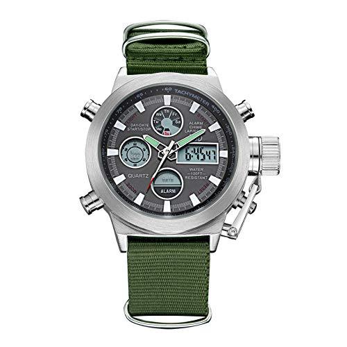 Affute - Reloj de pulsera, deportivo, digital, analógico, de cuarzo, para hombre, con cronógrafo, diseño militar, correa de lona de color verde, resistente al agua
