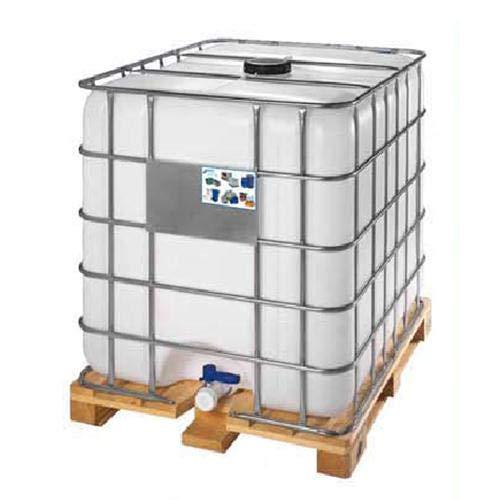 Cisterna IBC usata/rigenerata in plastica, 1000 Litri, omologata ADR/ONU, coperchio 150 mm, valvola di scarico 2', pallet legno