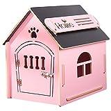 Casa de Madera para Perros I Casa para Perros de Interior I Lugar para Dormir para Las Mascotas I Repelente al Agua y Estable I Varios tamaños y Colores (M (51 x 39 x 52), Style 4)